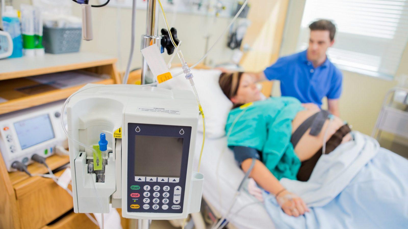 Pregnant woman at hospital epidural